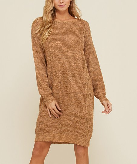 d8b600ef594 Annabelle USA Camel Cable-Knit Sweater Dress