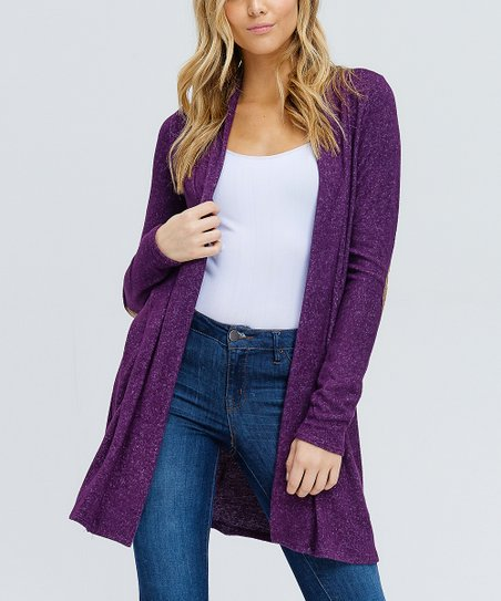 911e052e83 love this product Purple Elbow Patch Open Cardigan