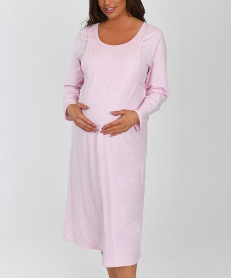 5d97b9ba87d09 love this product Heather Pink Nursing Maternity Nightgown - Plus Too