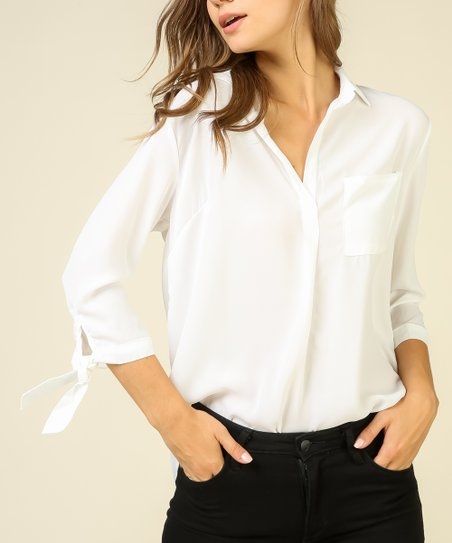 9e38e2ce love this product Off-White Tie-Sleeve V-Neck Top - Juniors