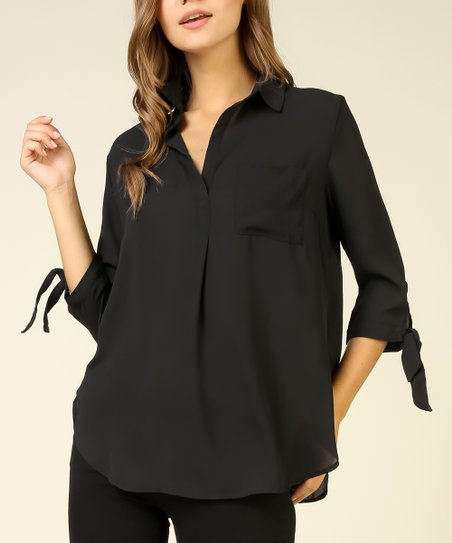 402e2669 love this product Black Tie-Sleeve V-Neck Top - Juniors