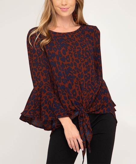 79ce467bb9ae love this product Brick & Navy Leopard Print Bell-Sleeve Top - Women
