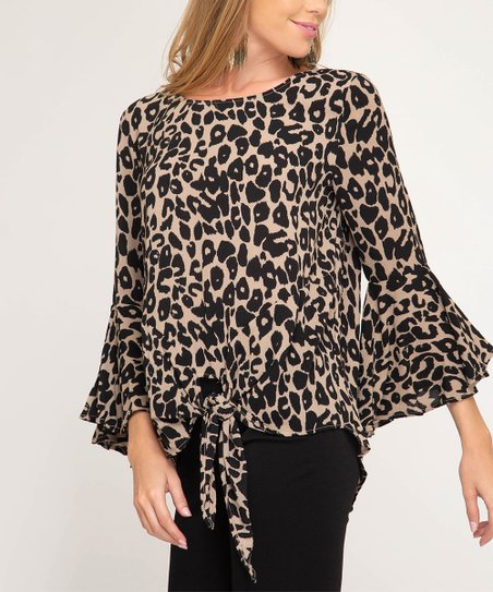 8f63d1df62c4 love this product Taupe Leopard Tie-Front Bell-Sleeve Top