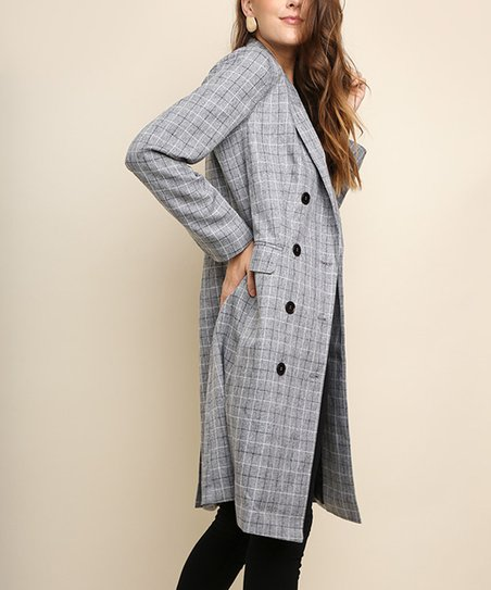 d7087b89a98 love this product Black Plaid Double-Breasted Trench Coat - Women