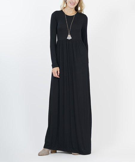 Black Long Sleeve Empire Waist Maxi Dress Women Zulily
