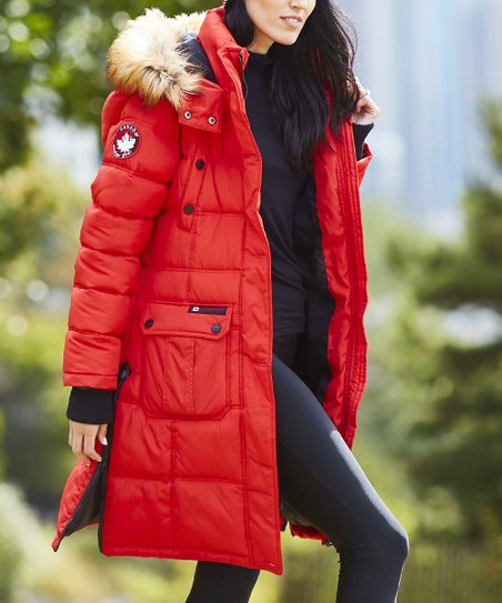 Canada Weather Gear Red Faux Fur Hood Puffer Coat Women Zulily