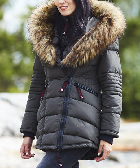 4aa61e865 love this product Olive & Tan Faux Fur-Collar Puffer Jacket - Women