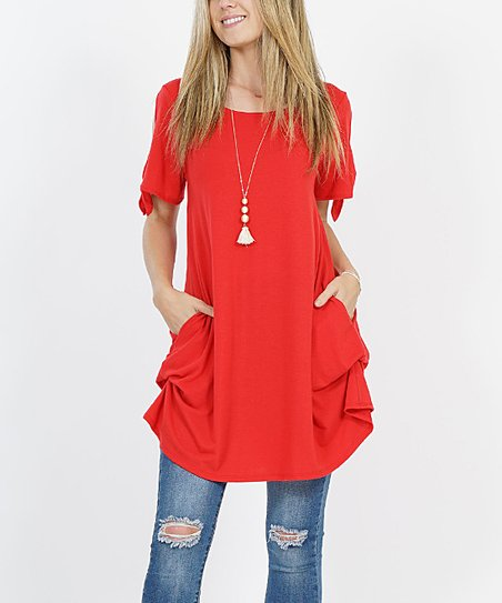 6be02fe38ee love this product Red Tie-Sleeve Side-Pocket Convertible Tunic - Women