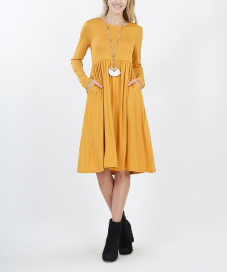 155e397ab784 love this product Ash Mustard Long-Sleeve Empire-Waist Dress - Plus