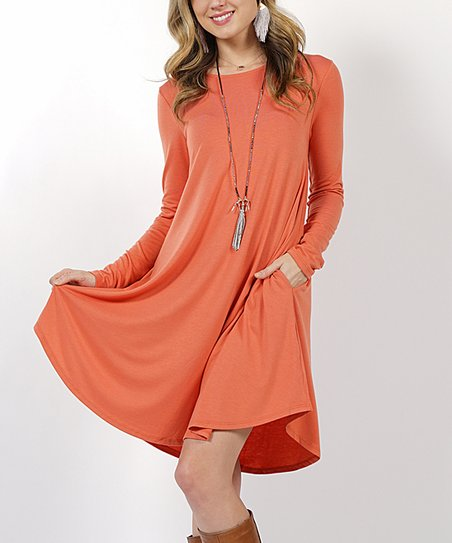 c351485fd4ca love this product Ash Copper Side-Pocket Curved-Hem Dress - Plus