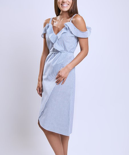 afbfd6608dab love this product Blue   White Stripe Off-Shoulder Dress - Women