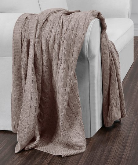 S L Home Fashions Taupe Cable Knit Throw Zulily
