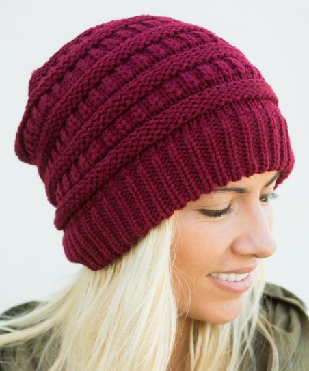 6fea5543521 love this product Wine Ribbed Slouchy Beanie - Women