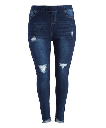65333d4311bfe love this product Dark Blue Fringe-Hem Distressed Jeggings - Plus