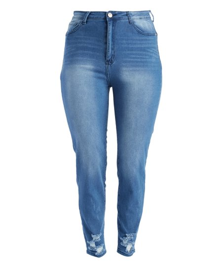 edf9bf62493 love this product Medium Blue Wash Distressed Whiskered High-Waist Skinny  Jeans - Plus