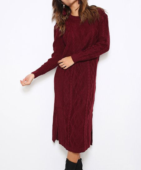 aa90d9a76af Fashion Inn Burgundy Side-Slit Cable-Knit Maxi Dress