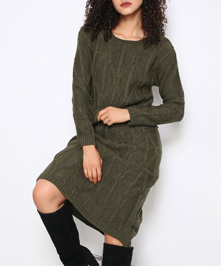9bd60b30ac4 Fashion Inn Khaki Cable-Knit Midi Dress