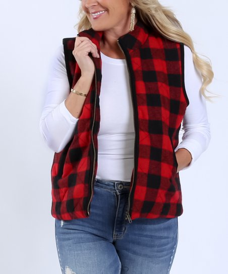 love this product Red   Black Buffalo Check Vest - Women a8c112413a6e