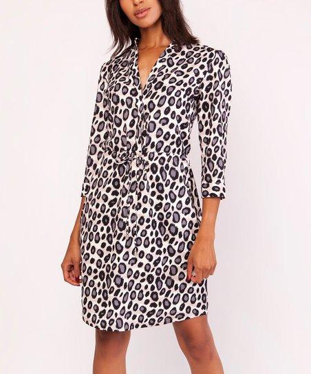 b0ba10b88fef love this product White & Gray Leopard Wrap Dress - Women