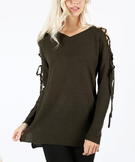 35dedcfc4f love this product Dark Olive Lace-Up Sleeve Sweater - Women