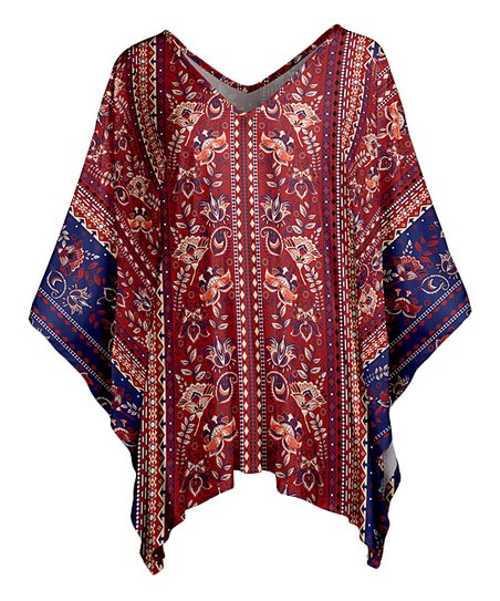 8e045b8a8 love this product Red & Blue Paisley Poncho - Women