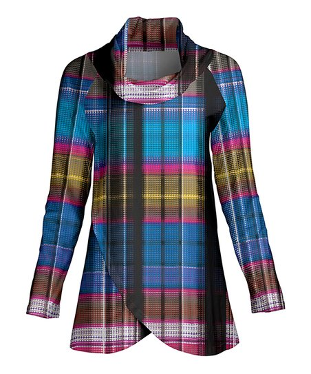 5253e95ecbb love this product Blue Plaid Cowl Neck Wrap Tunic - Women