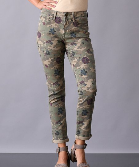 Lichen Green Camouflage Slim Straight High Rise Pants   Women by Seven7