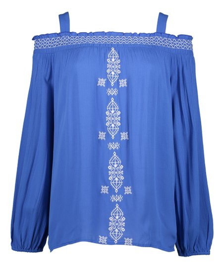 15323bb3be3cfe love this product Smoke Blue Off-Shoulder Peasant Top - Women