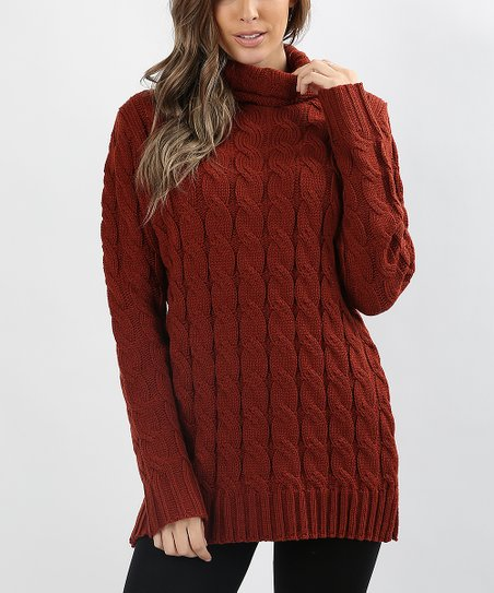 Zenana Dark Rust Cable Knit Turtleneck Sweater Women Zulily