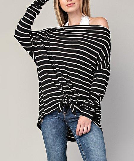 861f22d1c60ec love this product Black   Ivory Stripe Tie-Front Off-Shoulder Top - Women