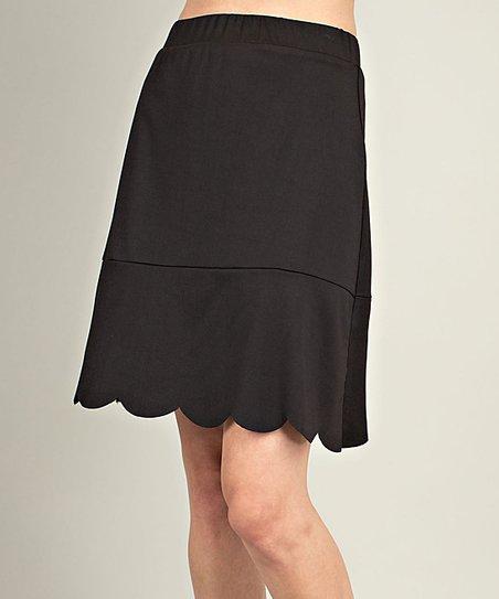 e2f42d544 Mittoshop Black Scallop-Hem A-Line Skirt - Women   Zulily