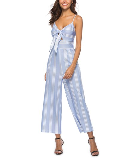 e1be13b2618d VUTTI Blue Stripe Tie-Front Jumpsuit - Women