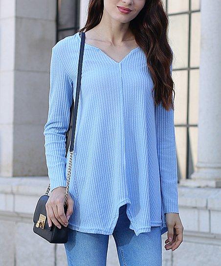 Vutti Blue V Neck Pullover Sweater Women Juniors Plus Petite