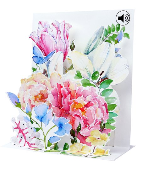 Up With Paper Watercolor Bouquet Sound Effects Pop-Up Card