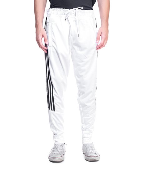 1053daed8 Urban Studios White & Black Stripe Drawstring Track Pants - Men | Zulily