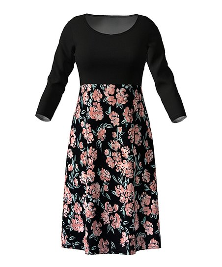 6667ca9a6485 love this product Black & Light Pink Floral Contrast-Skirt Empire-Waist  Dress - Women