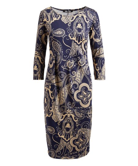 da1f60af love this product Navy & Cream Paisley Sheath Dress - Women & Plus