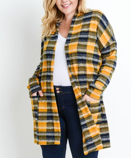 9d6100d333 love this product Mustard   Navy Plaid Open-Front Cardigan - Plus