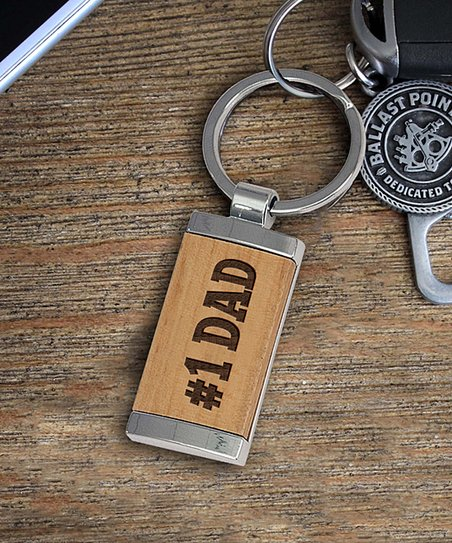love this product Wood   Silver   1 Dad  Keychain 7240ae296f