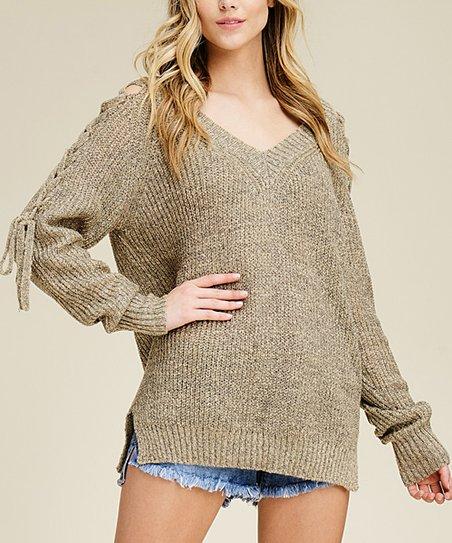 2ff1cceba1 Annabelle USA Bone Lace-Up Sleeve V-Neck Sweater - Women