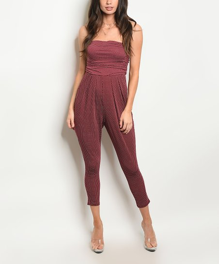 4142e38cff love this product Wine   White Strapless Jumpsuit - Women