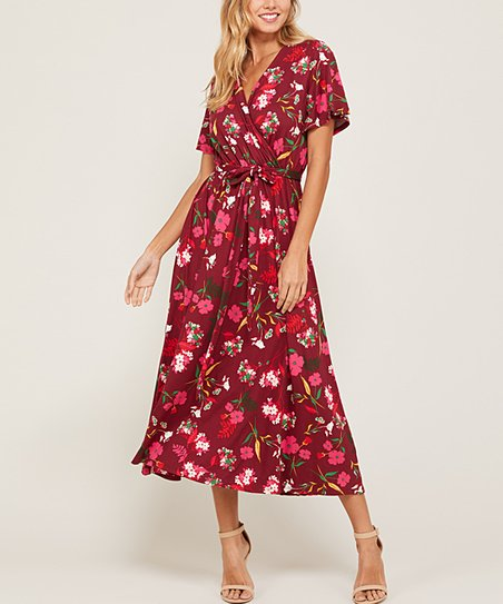 ef198c0d7311 love this product Wine & Hot Pink Floral Tie-Waist Maxi Dress