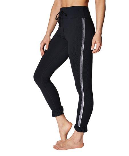 40170e0f63530 Betsey Johnson® Black Ruffle Hem Mesh Stripe Leggings - Women   Zulily