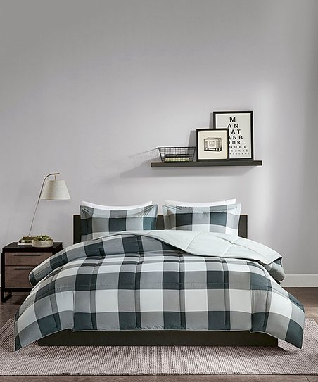 Gray Black Down Alternative Comforter Set