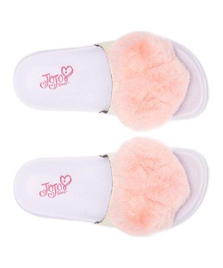 Ground Up Slip On JoJo Siwa Fur Heart Sandals
