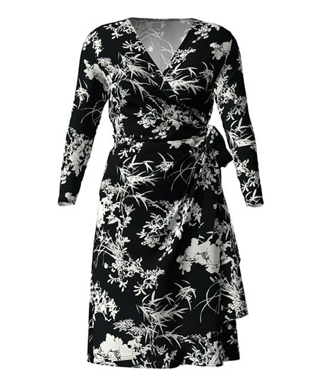 06f8e553e2 love this product Black   White Floral Wrap Dress - Women   Plus