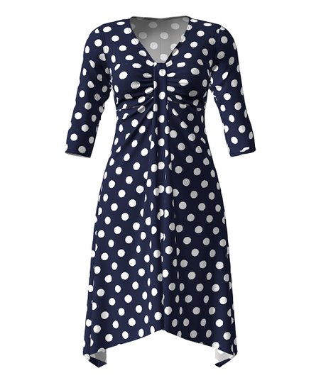 dc92d9cb84d love this product Navy   White Polka Dot Front-Ruched Empire-Waist Dress -  Women   Plus