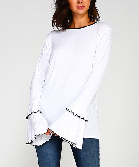 7e2c3f40e521 Sweet Journey White Bell-Sleeve Top - Women | Zulily