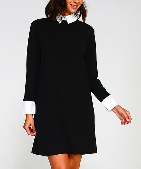 Sweet Journey Black Off White Collar Accent A Line Dress Women