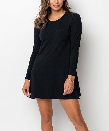 Caralase Black Long Sleeve Shift Dress Women Zulily